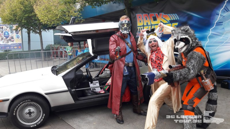 starlord and rocket with docbrown and delorean timemachine