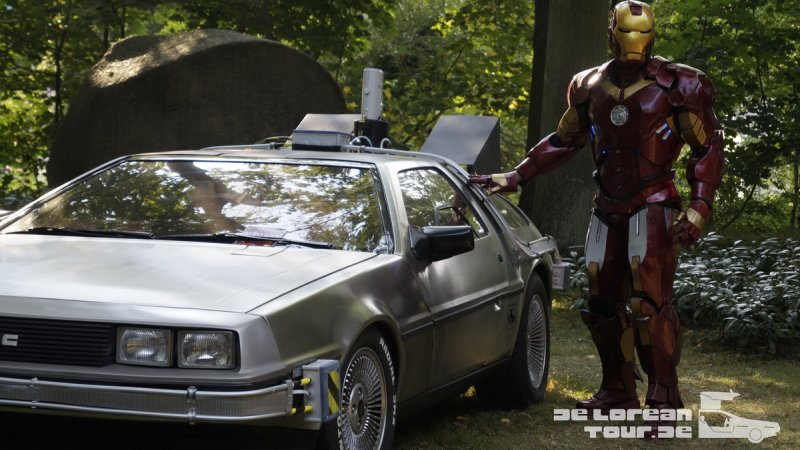 Iron Man next to Delorean Time Machine from Back to the Future