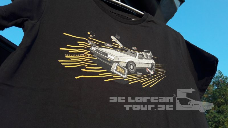 80er Delorean T-Shirt schwarz