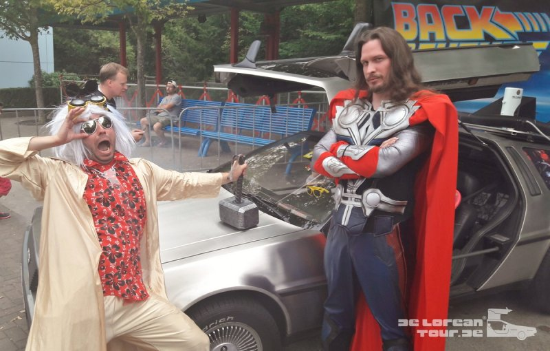 Thor is a Jerk Hammer omn Delorean fuel flap timemachine
